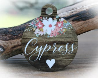 Pet Name Tag | Dog tag for Dogs | Flower Pet Tag | Faux Wood Dog tag-Cypress