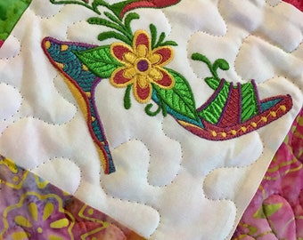 Quilted Dresser Top . . . It's All About The Shoes . . .Embroidered  Bright Color SHOES . . . Great Color Combination