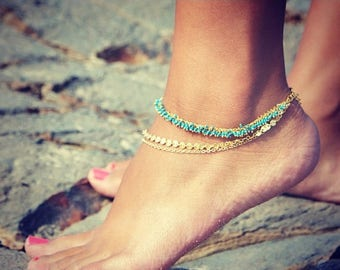 SUMMER SALE LOVMELY Anklet- triple chain Turquoise, Coral, or white anklet 22k gold wire wrapped / boho chic