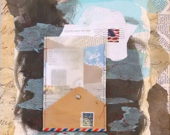 Open Ended Communication, Paper Collage with Envelope, Stamps, Thread, Stitching, Dictionary Pages, 14x11 inches on Gallery Wrapped Canvas