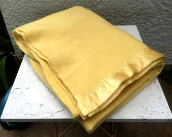 "Vintage 100% Wool Blanket, Wards ""Fleecy Down"" Blanket, Pale Yellow with Satin Binding, Montgomery Wards"