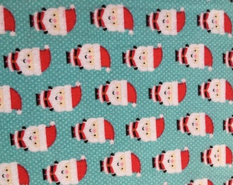 Santa Express Cotton Flannel Fabric in Blue