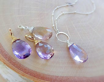 Removable loose Ametrine pendant charm, wire wrapped Amethyst gemstone charm, interchangeable loose Pendant, february birthstone, crystal