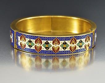 Antique Gilded Gold Enamel Bracelet | Victorian Bangle Bracelet | Heavy Egyptian Motif Double Hinged Bracelet | Thick Gold Bracelet