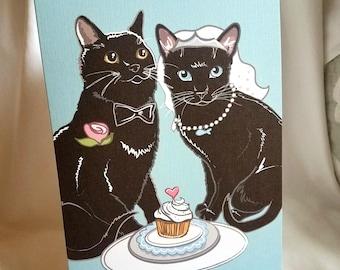 Wedding Black Cats - Greeting Card