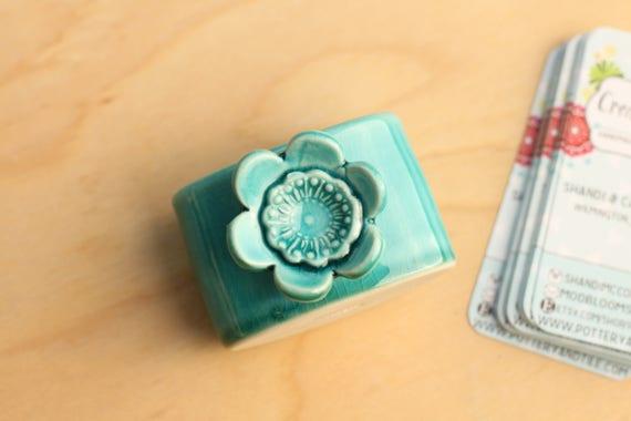 business card holder for desk, dark teal with flower