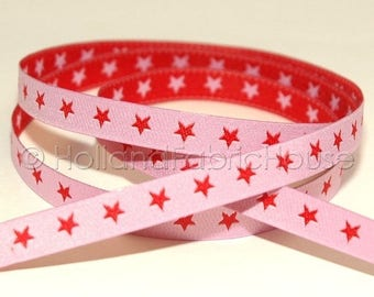 FINAL CLEARANCE SALE FarbenMix - Stars in pink-red ribbon/sewing tape