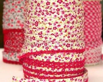 FINAL CLEARANCE SALE Bias Tape Double Fold Petite Flowers in Raspberry Cotton and Lace Crochet