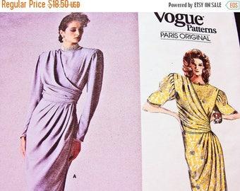 on SALE 25% Off 1980s Vogue Paris Original Pattern Emanuel Ungaro Womens Dress, Tapered Mock Wrap Skirt, Side Drape Vogue Pattern size 12 UN