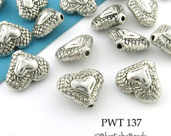 12mm Pewter Heart Beads, Heart with Textured Edge (PWT 137) 12 pcs BlueEchoBeads