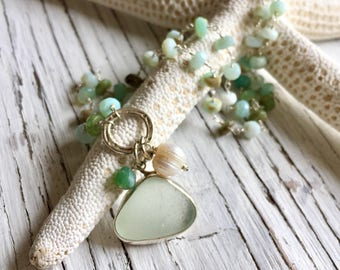 Sea Glass Pendant with Beaded Aqua Gemstone Chain Sterling Silver