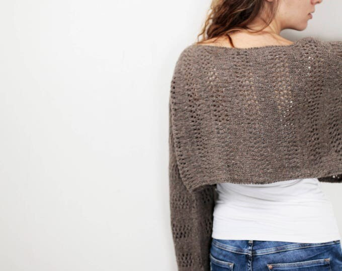 Hand knit sweater Little cover up top cropped sweater Mocha pullover sweater