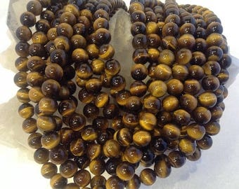 50% Mega Sale 8mm Tiger Eye Gemstone Beads - Chatoyance