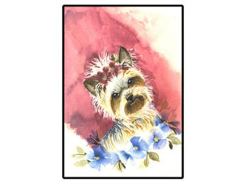 Yorkshire Terrier Greeting Card, Dog lovers Card, Cute Yorkie card
