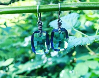 Faceted Swarovski Nuggets- Your Choice of Silver Shade or Denim Blue
