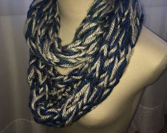 Hand Knit Infinity Scarf- Blue, Green & Silver