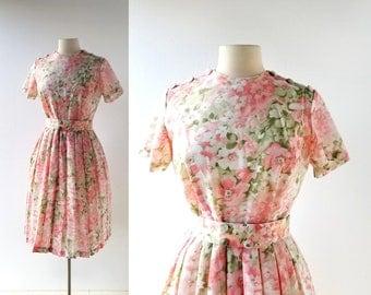 1950s Floral Dress | Blossom Festival | 50s Dress | Medium M