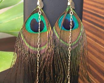 Peacock Feather Amethyst Earrings