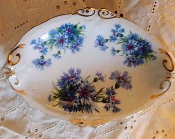 Spode, Vintage Hammersley Comp., Fine Bone China, Made in England, Oval, Blue Cornflower