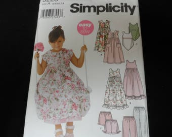 Simplicity 5226 Girls Dress, Slip Dress, Top, Pants, and Shorts Pattern Sizes 3,4,5,6,7,8 UNCUT
