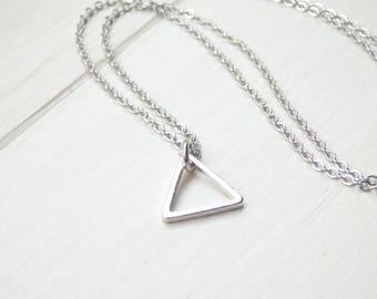 Silver Triangle Necklace - Minimalist Necklace - Geometric Necklace