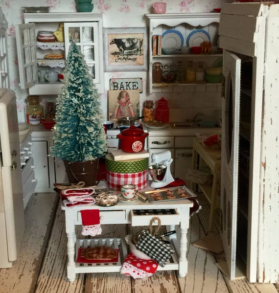 Miniature Country Christmas Baking Prep Table -1:12 scale