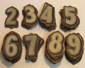 Vintage Kursh Paper Co. Wooden Reflective 3D Numbers for Signs House Crafts etc. Huge Lot 1940s-50s