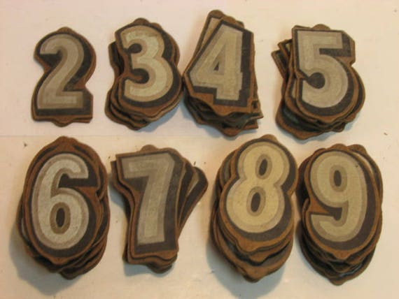 Vintage Kursh Paper Co. Wooden Reflective 3D Numbers for Signs House Crafts etc. Huge Lot 1940s-50s Wood Numbers