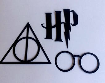 15 Harry Potter Inspired Themed Die Cuts Small, Glasses, Deathly Hallows, Party Decor, Room Decorations, Banners, Scrapbook, Cards, Black