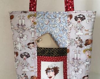 Nurse Reversible Tote with Loralie Fabric, Reversible Purse, Reversible Handbag, Reversible Bag