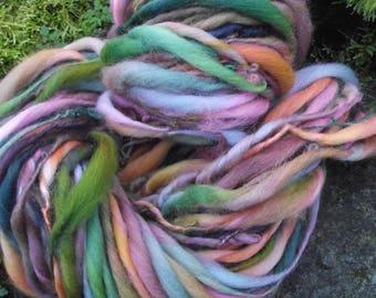 Handspun art yarn, handpainted extreme thick and thin  wool yarn, handmade yarn bulky-Fairy Tale