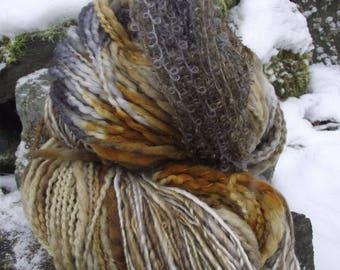 Handpainted handspun Yarn kit bundle, three skeins OOAK, bulky Merino, Mohair, Bamboo-Barred Owl