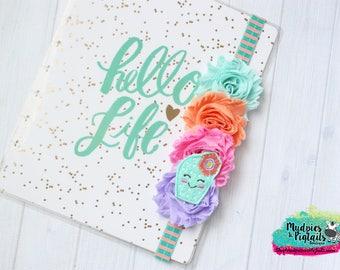 Cactus Planner band { Poke me Peach } floral cacti, succulents, lavender, peach striped summer, bow, bookmark bible band