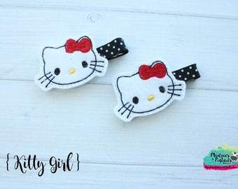 Girly Diva Hair Clippies  { Kitty Girl }  cat, crown, glitter, red bow mommy daughter Hair Clip, Barette, Holiday Hair Bow No Slip