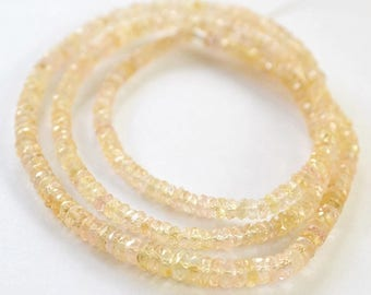 Sapphire Gemstone. Precious Gemstone Bead. Natural Translucent Faceted Soft Gold Sapphire. Strand Your Choice 3 to 4.5mm. (v5sap4)
