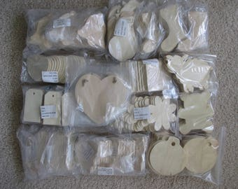 Wood Shape Cutouts, Large Lot of Simple Wood Shapes, Natural, Unfinished, 276