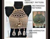 Bohemian Fringed Halter top - CROCHET PATTERN - Adult small to large, adjustable fit, intermediate level, #2009