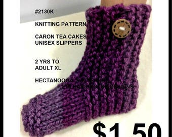 KNITTING PATTERNS, Unisex Slippers, Knitted slippers, child, teen, adult, Caron Tea Cakes, #2130, Hectanooga Patterns