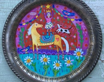 Whimsical Folk Art Painting