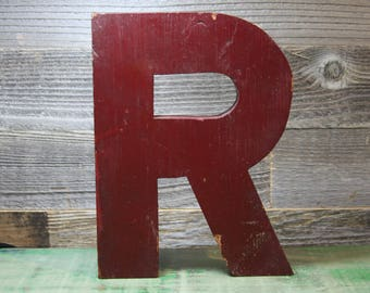 Vintage Letter R- Wooden SIGN LETTER Industrial Initial R- Rustic Painted Red Wood Monogram Letter R- A27