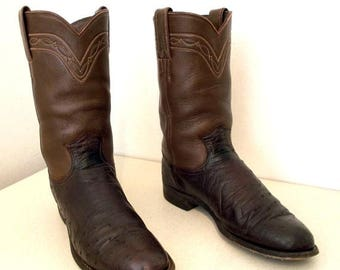 Rich Brown Justin cowboy boots with ostrich leather