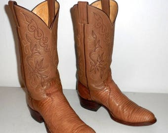 Justin Cowboy Boots Exotic Lizard Mens 7.5 D Tan Country Western Shoes Rodeo