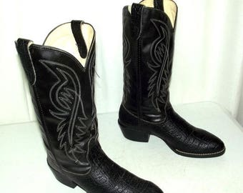 Vintage Bronco brand Black Cowboy Boots mens size 8.5 EE wide width Vegan Friendly western rockabilly