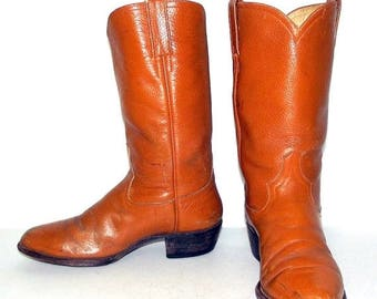 Mens 8 D Cowboy Boots Vintage Tan Western Rockabilly Country Womens Size 9.5