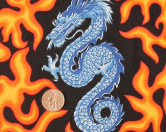 """1 yard 100% Cotton Fabric VIP Cranston Print Works 45"""" wide Anything Goes Blue Dragons Orange Flames (sold BTY)"""