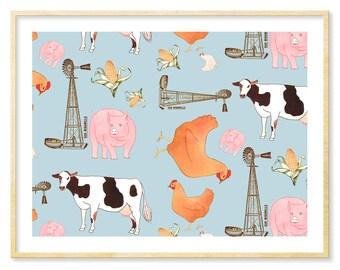 Farmhouse Decor, Grey Nursery, Nursery Art Print, Cow, Pig, Chicken, Nursery Decor, Cute Animals, Corn Illustration, 8.5x11, Americana Decor