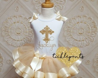For all sizes - Baptism Christening Tutu Set - Ivory and gold sparkle - Includes embroidered cross top and ruffled tutu - Can be customized