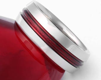 Red Frost Titanium Wedding Band, Firefighter Ring, Thin Red Line Ring, Man's Ring, Woman's Ring, Handcrafted Titanium Ring - r16