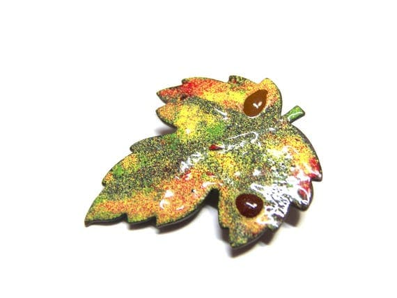 ON SALE Vintage Leaf Brooch Leaf Pin Copper Pin Enamel Brooch gift for her gift for Christmas colorful pin fashion scarf brooch