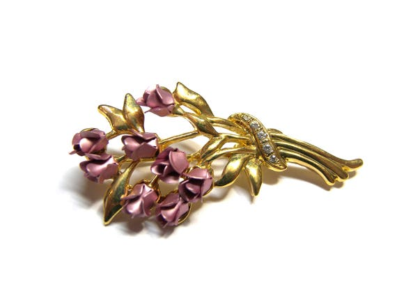 Rose Pin Rose Brooch Rose Bouquet Recycled Jewelry Vintage Jewelry Gold Pin Gifts for Women